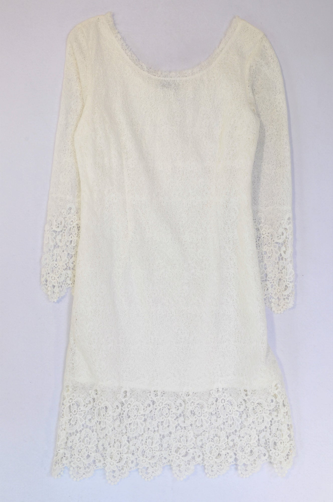 G-Couture White Long Sleeve Lace Trim Dress Women Size 34