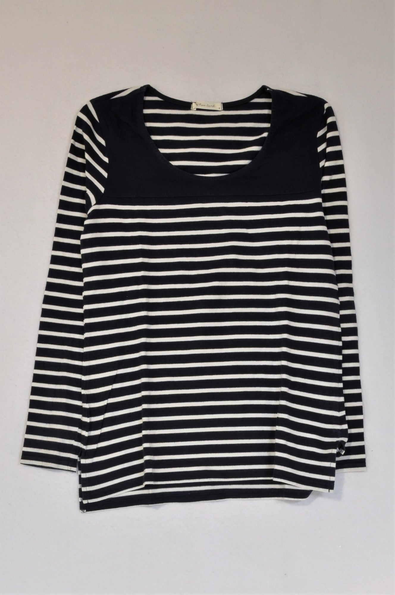 Rare Earth Navy & White Stripe Long Sleeve Top Women Size 8