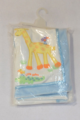 New Woolworths White & Blue Trim Little Safari Giraffe Fleece Blanket Unisex N-B to 1 year