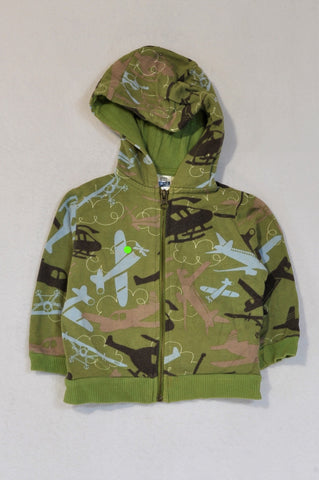 Zara Green Blue & Brown Aeroplane Zip Up Hoodie Boys 9-12 months
