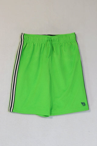 OshKosh Neon Green Navy & White Stripe Drawstring Sports Shorts Boys 9-10 years