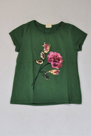 Zara Olive Embroidered Pink Flower Sequin T-shirt Girls 8-9 years