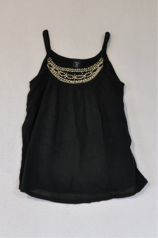 GAP Black Strap & Beige Beaded Neckline Blouse Girls 6-7 years
