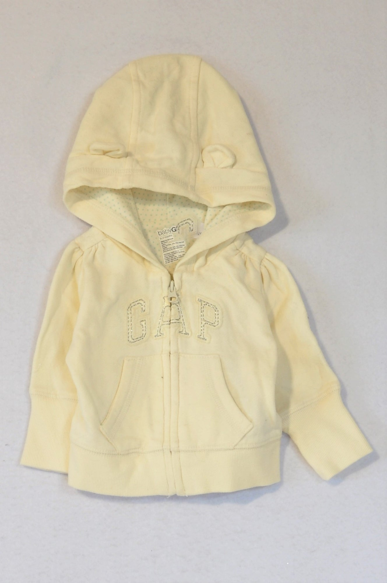GAP Cream Long Sleeve Bear Ear Hoodie Unisex 0-3 months
