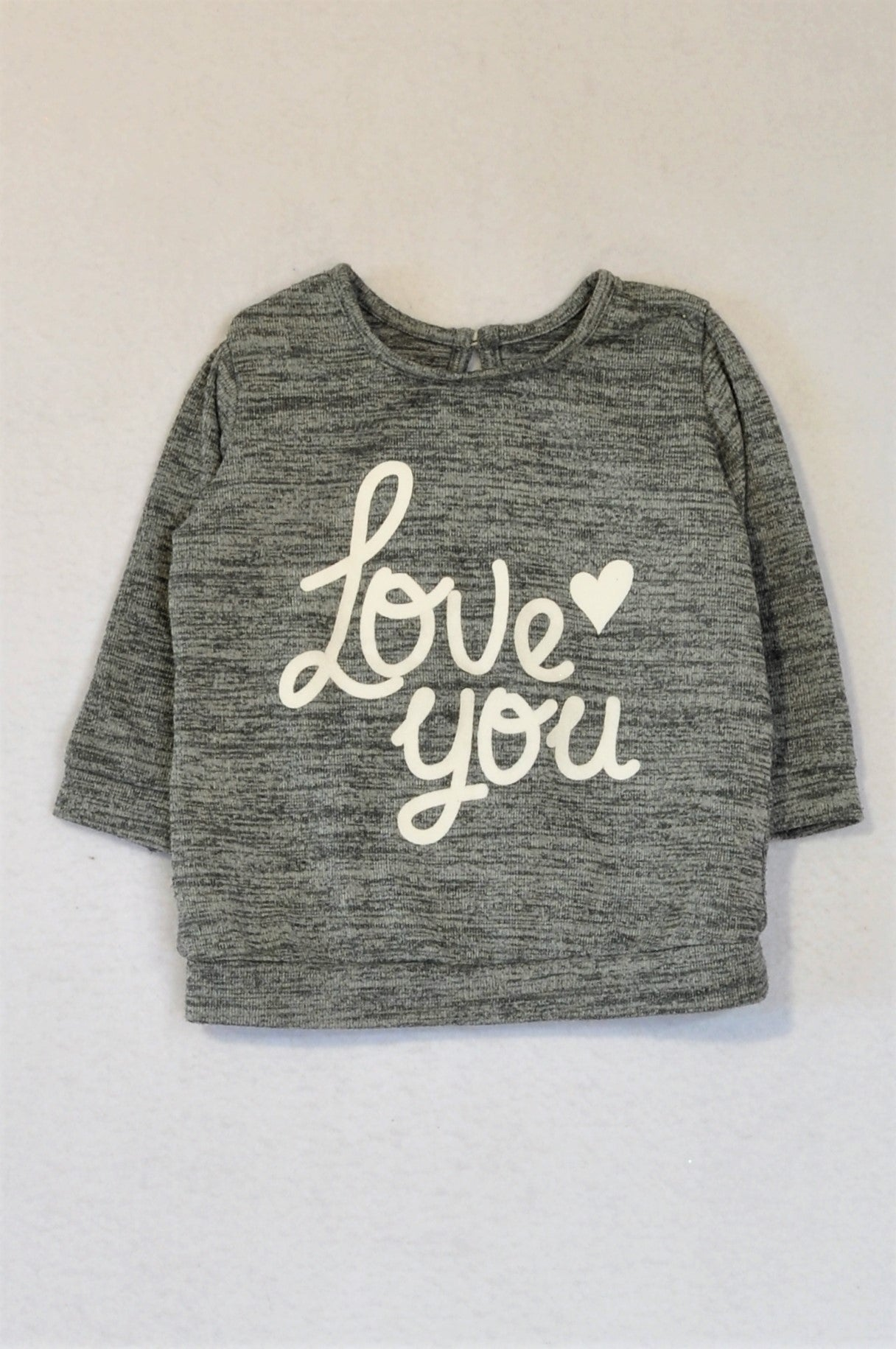 Woolworths Grey Heathered Love You Long Sleeve Top Girls 6-12 months