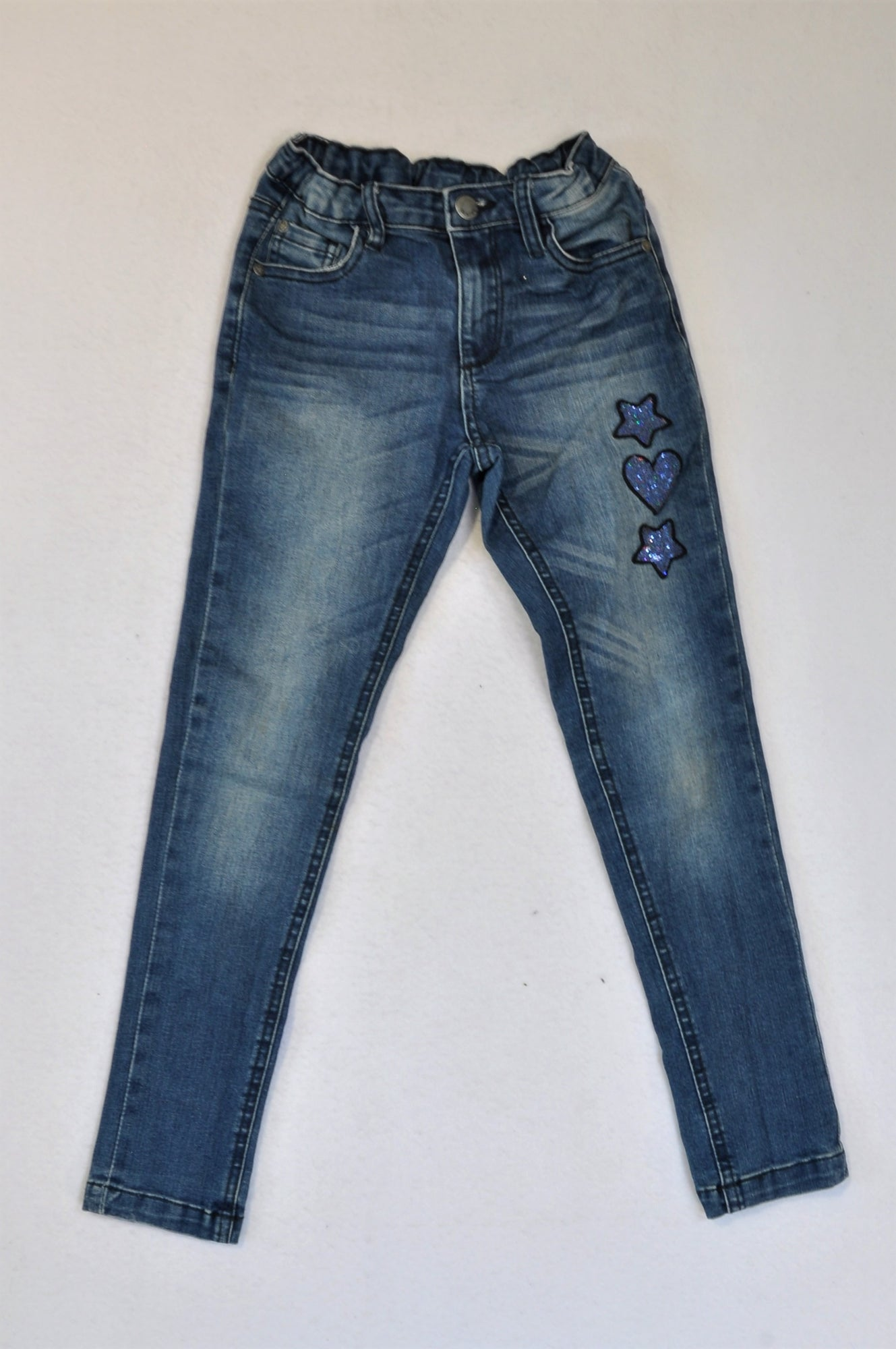 Woolworths Medium Wash Star Sequin Jeans Girls 7-8 years