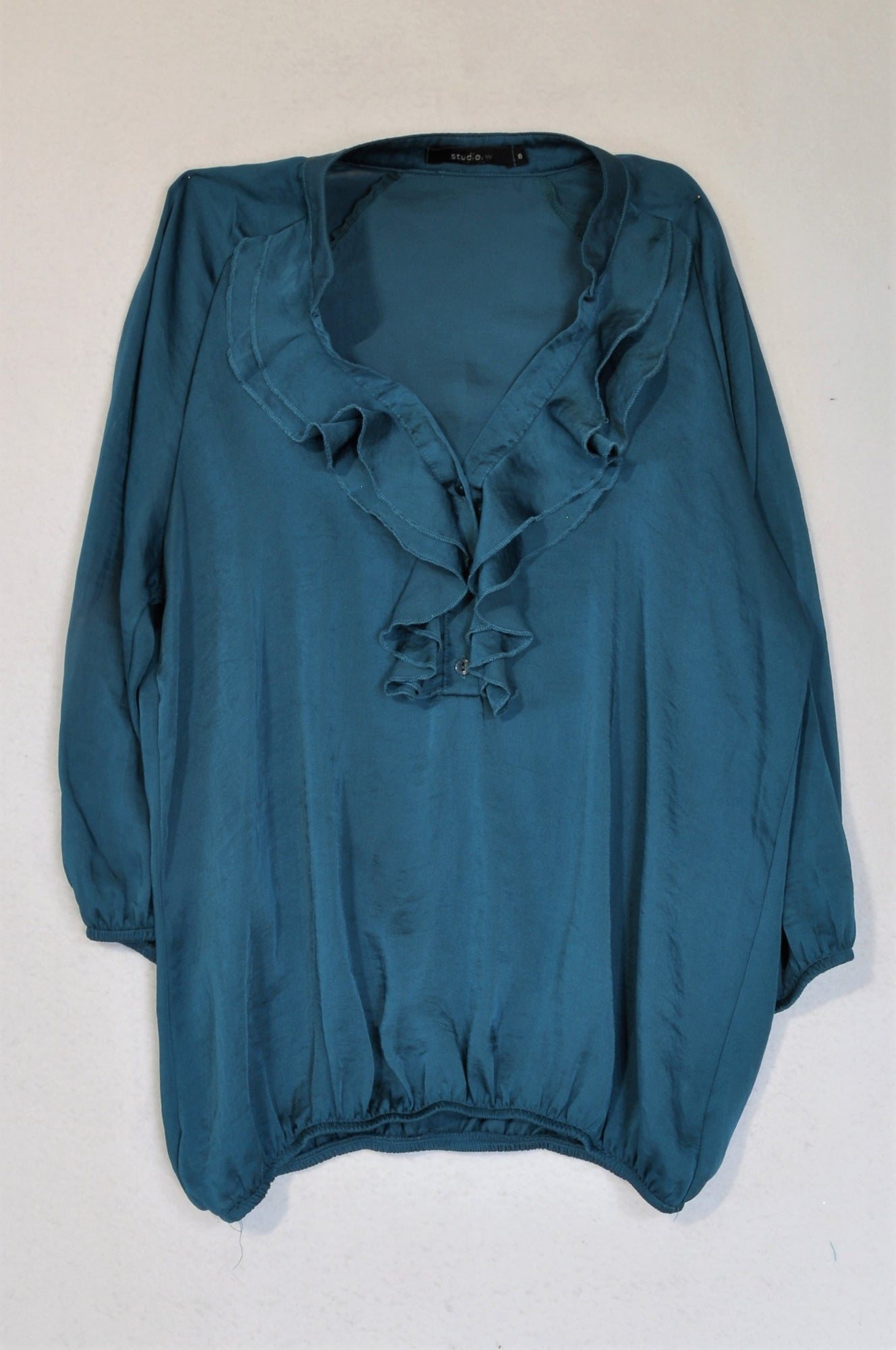 Woolworths Teal Frill Bodice 3/4 Sleeve Blouse Women Size 10