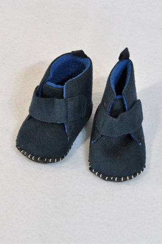New Woolworths Size 1 Navy & Blue Fleece Velcro Booties Boys 3-6 months