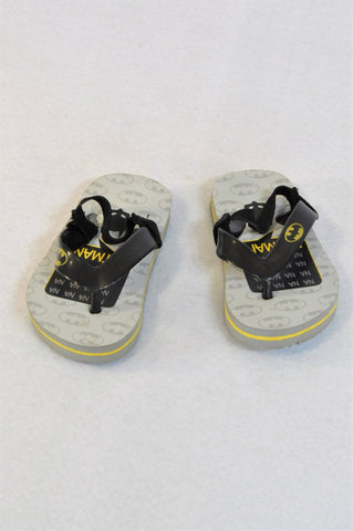 Batman Size 5 Grey Black & Yellow Na Na Na  Flip Flops Boys 18-24 months