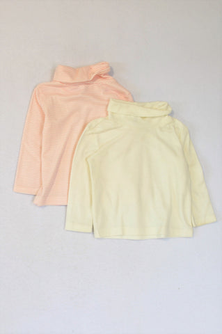Ackermans 2 Pack Cream & Pink White Stripe Long Sleeve Turtle Neck T-Shirts Girls 6-12 months
