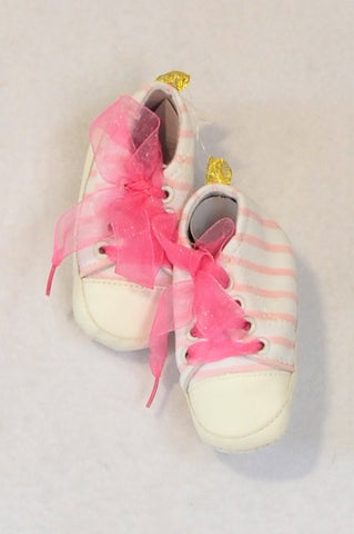 New Mother's Choice Size 1 White & Pink Stripe Sheer Ribbon Lace Booties Girls 3-6 months