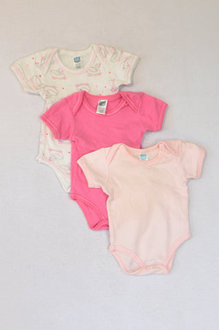 Ackermans 3 Pack Light Pink,Cerise & Princess Swan Baby Grows Girls 3-6 months