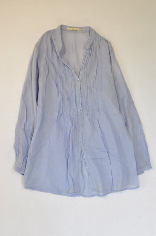 Woolworths Periwinkle Pleat Lightweight Long Sleeve Shirt Women Size 6