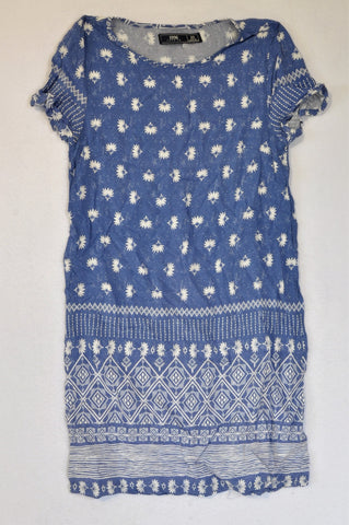 Pick 'n Pay Dusty Blue & White Daisy Tribal Trim Dress Women Size XS