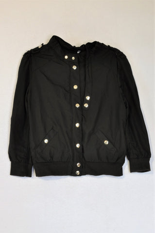 H&M Black Lightweight Zipper Snap Jacket Women Size XS
