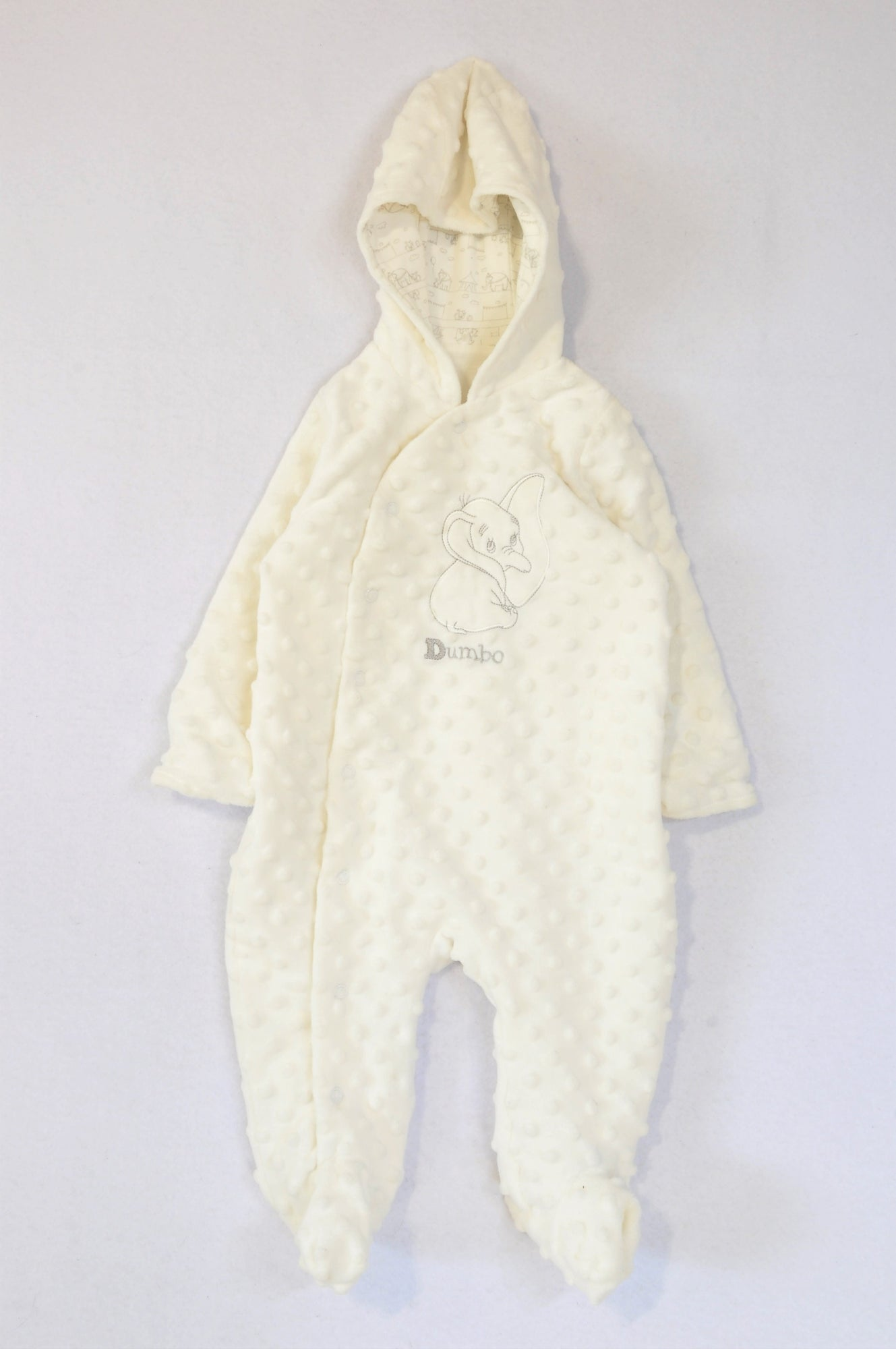 Disney White Raised Dot Fleece Hooded Dumbo Onesie Unisex 3-6 months
