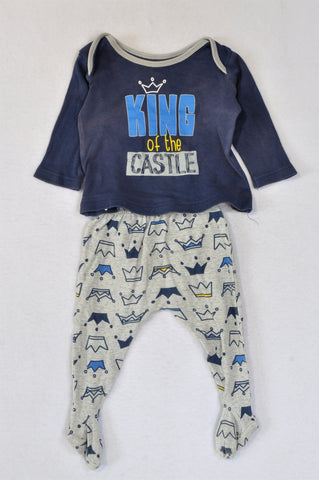 Woolworths King of the Castle Navy Long Sleeve T-Shirt & Grey Crown Footed Leggings Outfit Boys 3-6 months