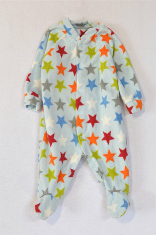 Woolworths Light Blue Multi Colour Stars Fleece Onesie Boys 0-3 months