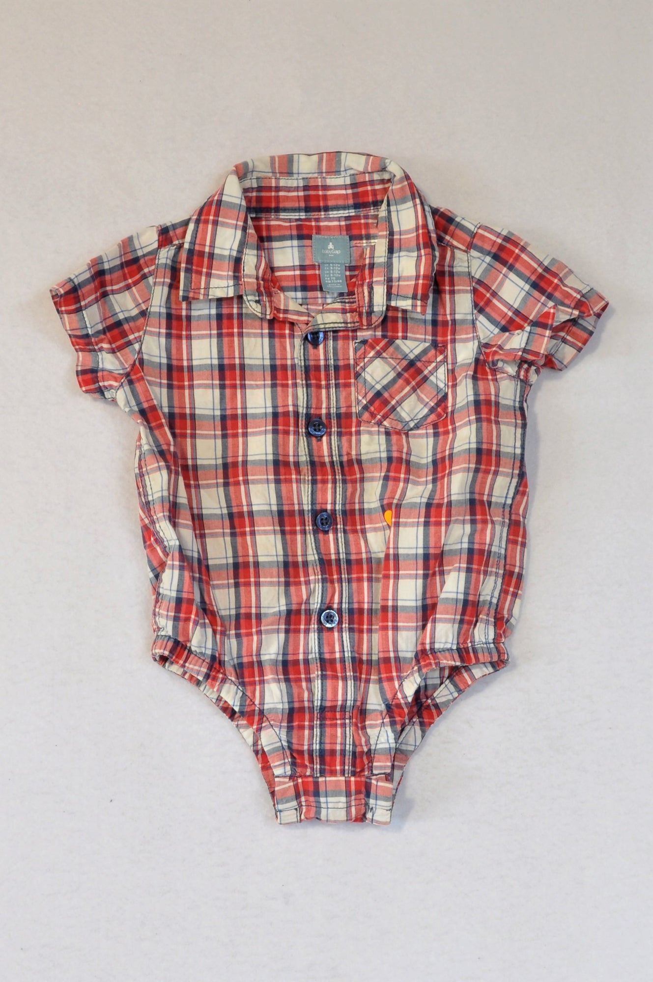 GAP Red & Blue Plaid Shirt Baby Grow Boys 6-12 months