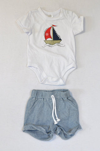 Clicks White Sailboat Baby Grow & Navy Stripe Shorts Outfit Boys 3-6 months