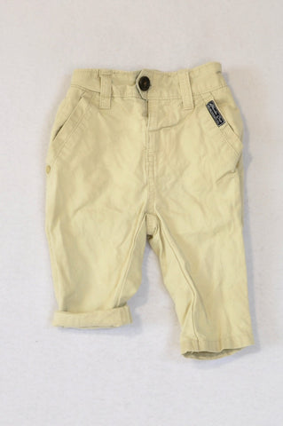Woolworths Light Khaki Button Chino Pants Boys 3-6 months