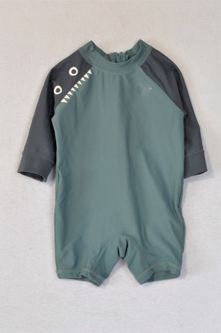 Cotton On Grey Shark with Fin Long Sleeve Romper Swimsuit Boys 3-6 months