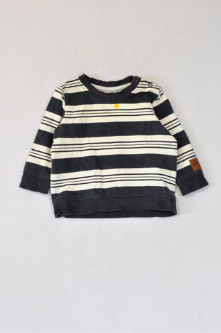 H&M Navy & White Multi Stripe Pull Over Top Boys 4-6 months