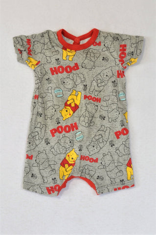 Woolworths Speckled Grey Red Trim Pooh Romper Boys 3-6 months