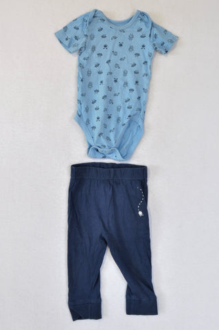 Woolworths Blue Bug Print Baby Grow & Navy Embroidered Bug Pants Outfit Boys 3-9 months