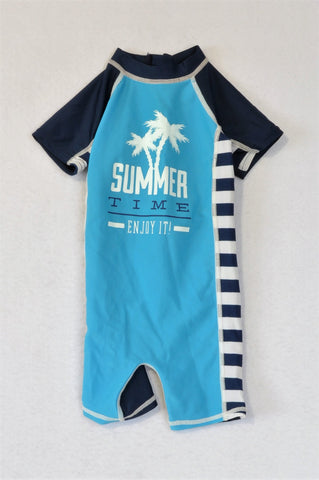 Woolworths Navy & Bright Blue Summer Time Swimsuit Boys 3-6 months