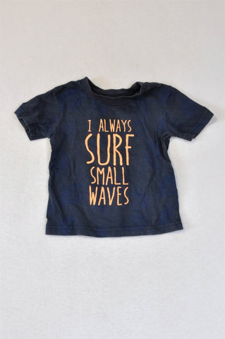 Woolworths Navy & Peach Tropical Print Surf Small Waves T-shirt Boys 3-9 months