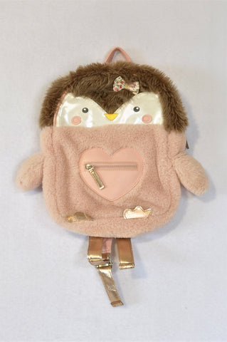 Accessorize Dusty Pink & Rose Gold Fleece Penguin Bag Girls 6+ years