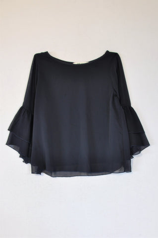 H&M Navy Chiffon Frill Sleeve Blouse Girls 11-12 years