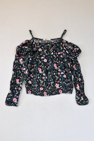 H&M Navy Floral Cold Shoulder Long Sleeve Blouse Girls 11-12 years