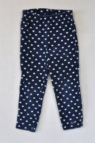 Woolworths Navy & White Velour Heart Pants Girls 2-3 years