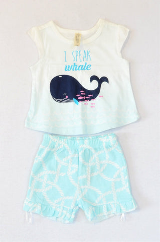 Pick 'n Pay White Ombre I Speak Whale T-shirt & Blue Rope Shorts Outfit Unisex 0-3 months