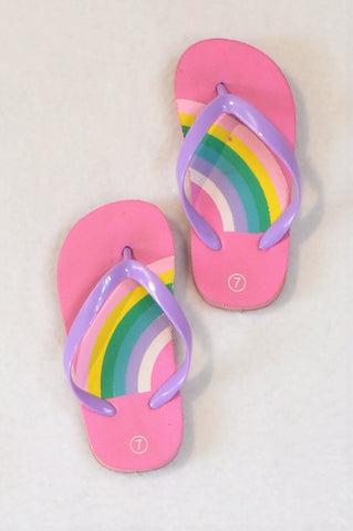Unbranded Size 7 Pink Rainbow Flip Flops Girls 2-3 years
