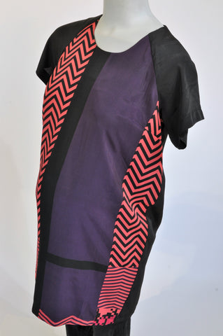 Mamas & Papas Black Pink & Purple Zig Zag Colour Block Maternity Dress Size 10