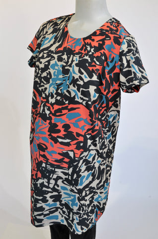 Mamas & Papas Navy Coral & Teal Lined Abstract Maternity Dress Size 10