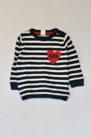 H&M Navy & White Striped Dad Heart Long Sleeve Jersey Unisex 9-12 months