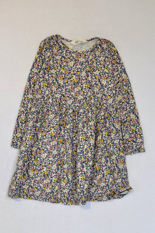 H&M Navy Ditsy Floral Long Sleeve Dress Girls 4-6 years