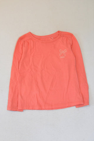 Woolworths Pink Cute Long Sleeve T-shirt Girls 4-5 years