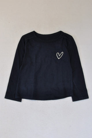 Woolworths Navy Silver Heart Long Sleeve T-shirt Girls 3-4 years