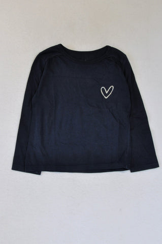 Woolworths Navy Heart Detail Long Sleeve T-shirt Girls 3-4 years
