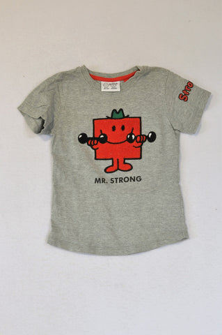 Next Mr. Men Grey Red Fleece Mr.Strong  T-shirt Boys 3-4 years