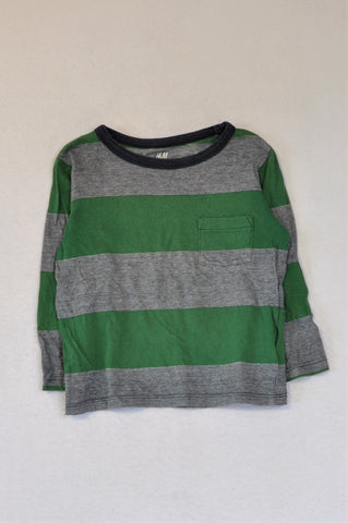H&M Navy & Green Organic Cotton Striped Long Sleeve T-shirt Boys 2-4 years