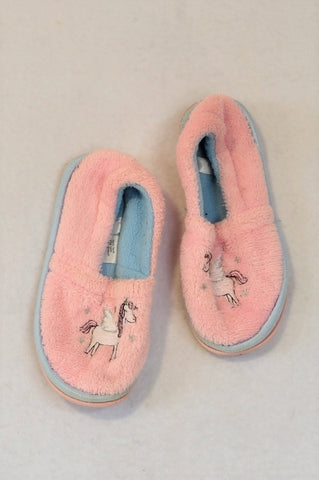 Woolworths Pink & Blue Fleece Unicorn Slippers Girls 18 months to 3 years