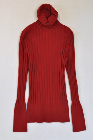 OBR Wine Red Ribbed Turtleneck Top Women Size M