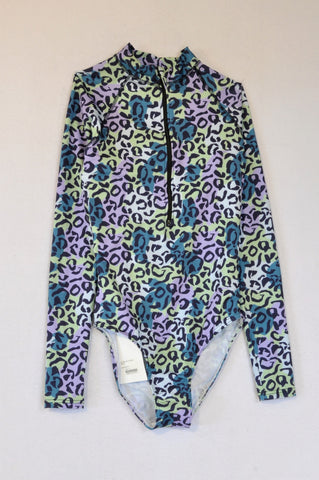 New Superbalist Teal & Lilac Leopard Print Long Sleeve Swimsuit Women Size 10