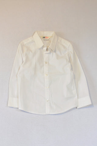 H&M Basic White Long Sleeve Shirt Unisex 3-4 years